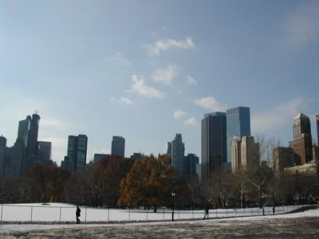 snow in Sheep Meadow, Central Park, December 6, 2005