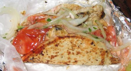 Tony Dragonas outstanding chicken pita with lettuce and tomatoes