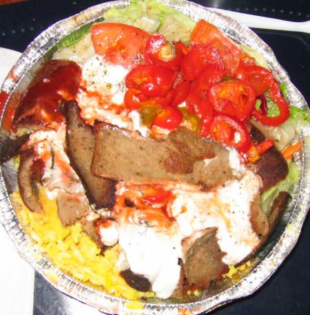Tony Dragonas gyros plate with rice and salad